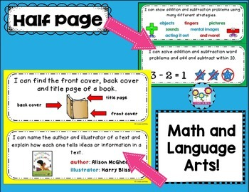 Kindergarten I Can Statements Bundle NO CCSS Tagging