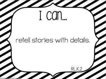 "Kindergarten ""I Can"" Statements: ELA - B&W"
