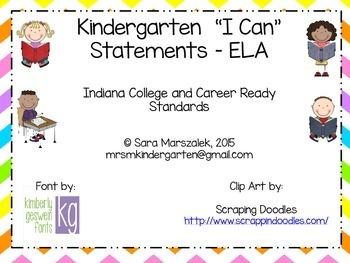 Kindergarten I Can Statements - ELA - Indiana College and Career Standards
