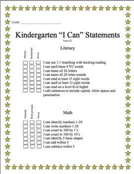 "Kindergarten ""I Can"" Statements *FREEBIE* - common core aligned"