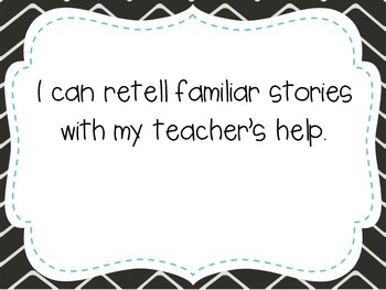 """Kindergarten """"I Can"""" Statements LAFS & Common Core Reading"""