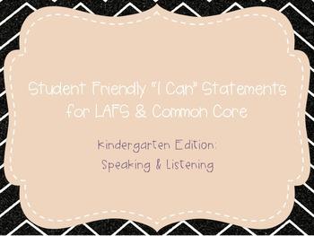 "Kindergarten ""I Can"" Statements LAFS & Common Core Speakin"