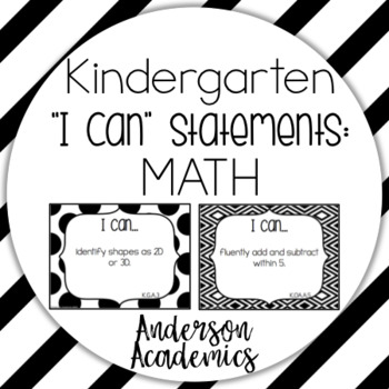 "Kindergarten ""I Can"" Statements: Math - B&W"