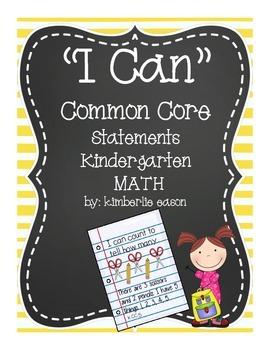 Kindergarten I Can Statements Math Common Core