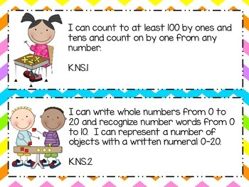 Kindergarten I Can Statements - Math - Indiana College and Career Standards