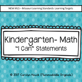 "Kindergarten ""I Can"" Statements - Math New MLS"