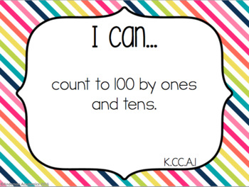 "Kindergarten ""I Can"" Statements: Math - Rainbow"