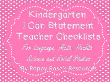 Kindergarten I Can Statements Teacher Checklists