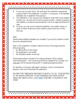"""Kindergarten """"I Can"""" Statements for KY NEW Reading and Writing Standards"""