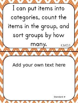 "Kindergarten ""I Can"" Statements for Math EDITABLE!"