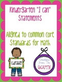 "Kindergarten ""I Can"" Statements for Math EDITABLE!"