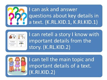 Kindergarten I Can Statements for Tennessee State Standards (2017-2018)