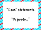 "Kindergarten ""I Can Statements"" in Spanish"