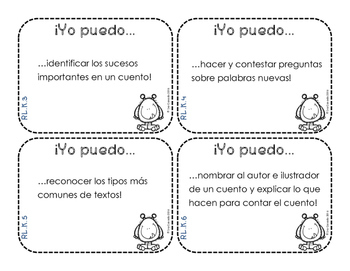 Kindergarten I Can Statements (language arts and math) in Spanish (Task Cards)