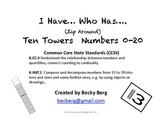 Kindergarten- I Have Who Has  (Zip Around) With Ten Towers K.NBT.1 K.CC.4
