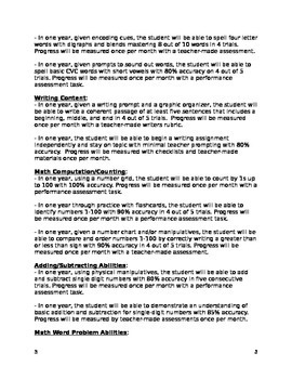 Kindergarten IEP Goal Bank (editable)