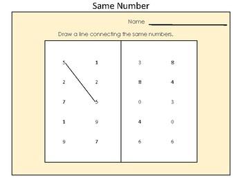 Kindergarten Identifying Same Number