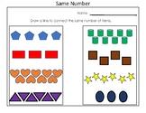 Kindergarten Practice Identifying Same Number