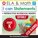 Common Core I Can Statements for Kindergarten ELA & Math Bundle