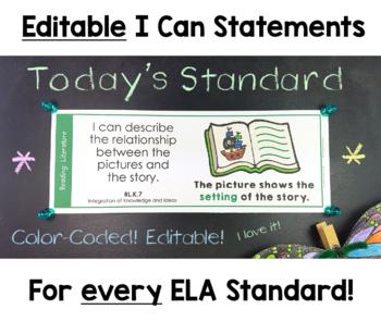 Common Core I Can Statements for Kindergarten ELA & Math Bundle