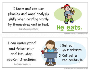 Common Core Standards I Can Statements for Kindergarten - California