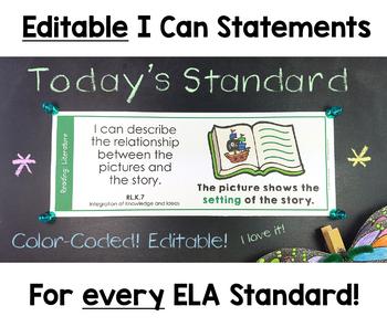 Common Core Standards I Can Statements for Kindergarten ELA
