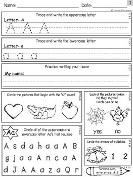 Kindergarten Independent Morning Work *60 Pages {LA- Set 1 CC Aligned}