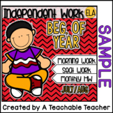 Kindergarten Independent Work - FREE 1 Week Sample