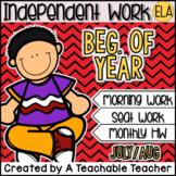 Kindergarten Independent Work - July or August