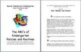 Kindergarten Information A-Z