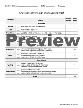 Kindergarten Information Writing Rubric