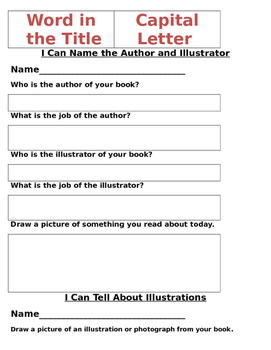 Kindergarten Informational Task Menu