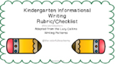 Kindergarten Informational Writing Rubric/Checklist