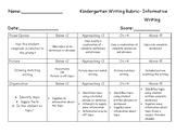 Kindergarten Informative Writing Rubric
