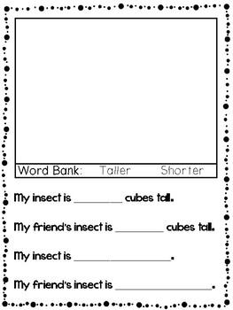 Kindergarten Insect Measurement Worksheet