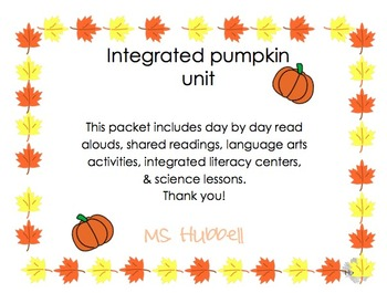 Kindergarten Integrated Pumpkin Unit