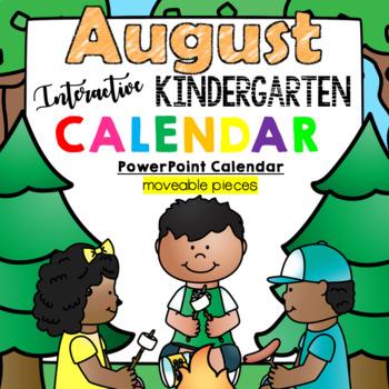 Interactive Kindergarten Calendar (AUGUST) - for Promethean