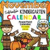 Interactive Kindergarten Calendar (NOVEMBER) - for Promethean