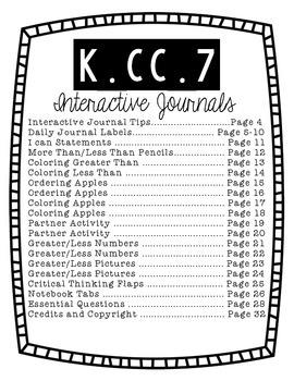 Kindergarten Interactive Math Journal {K.CC.7}