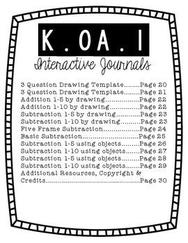 Kindergarten Interactive Math Journal {K.OA.1}