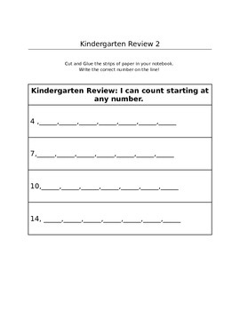 Kindergarten Interactive Notebook Review for First Grade Math