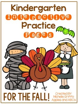 Fall Kindergarten Interactive Practice Pages