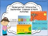 Kindergarten Interactive September Calendar and Math Activities