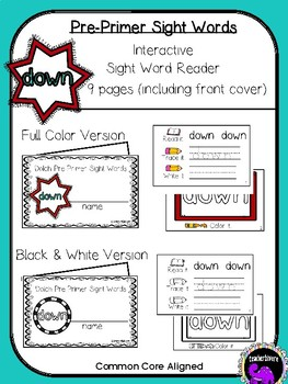 Kindergarten Interactive Sight Word Reader: Down