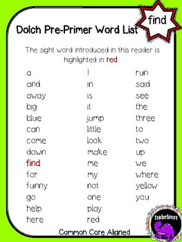 Kindergarten Interactive Sight Word Reader: Find