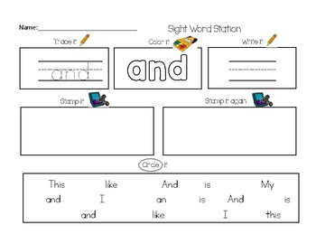 Interactive Sight Word Stations-Read it, Trace it, Write, Stamp it!