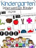 Kindergarten Intervention Binder