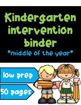Kindergarten Intervention Binder - Middle of the Year