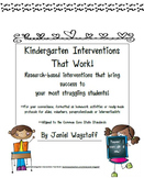 Kindergarten Interventions That Work Writing Name, Letters, Sight Words, Fluency