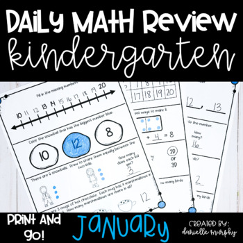 Math Journal--January Daily Review for Kindergarten--Commo